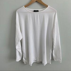 Eileen Fisher | White Rayon Long Sleeve Blouse Top